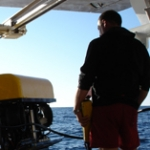 The ROV is launched from Octopus